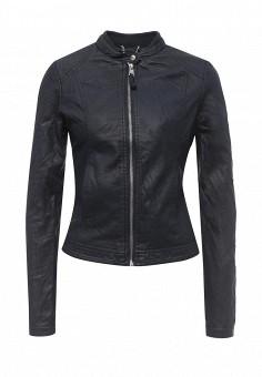 Куртка кожаная, Alcott, цвет: синий. Артикул: AL006EWRAV43. Женская одежда / Верхняя одежда / Кожаные куртки