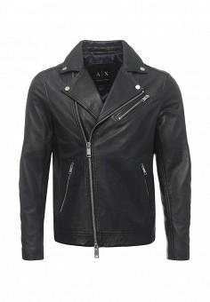 Куртка кожаная, Armani Exchange, цвет: синий. Артикул: AR037EMPWU11. Мужская одежда / Верхняя одежда / Кожаные куртки