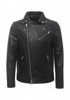 Куртка кожаная, Armani Exchange, цвет: синий. Артикул: AR037EMPWU13. Мужская одежда / Верхняя одежда / Кожаные куртки