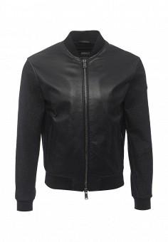 Куртка кожаная, Armani Jeans, цвет: синий. Артикул: AR411EMOVS29. Мужская одежда / Верхняя одежда / Кожаные куртки