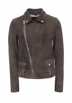 Куртка кожаная, Blouson, цвет: серый. Артикул: BL033EWQGN31. Премиум