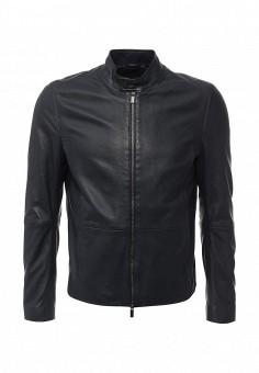 Куртка кожаная, Boss, цвет: синий. Артикул: BO246EMIVL87. Мужская одежда / Верхняя одежда / Кожаные куртки