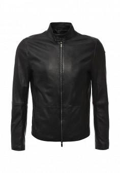 Куртка кожаная, Boss, цвет: черный. Артикул: BO246EMIVL89. Мужская одежда / Верхняя одежда / Кожаные куртки