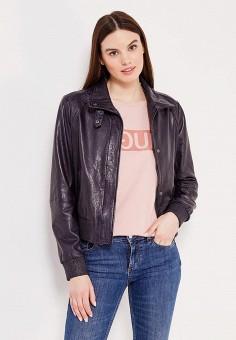Куртка кожаная, Boss Orange, цвет: синий. Артикул: BO456EWSRX00. Женская одежда / Верхняя одежда / Кожаные куртки