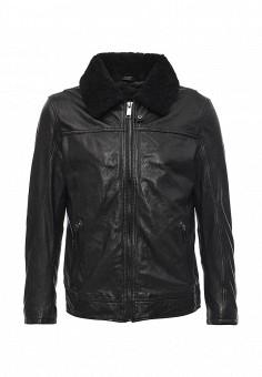 Куртка кожаная, Cortefiel, цвет: черный. Артикул: CO046EMKOI43. Мужская одежда / Верхняя одежда / Кожаные куртки