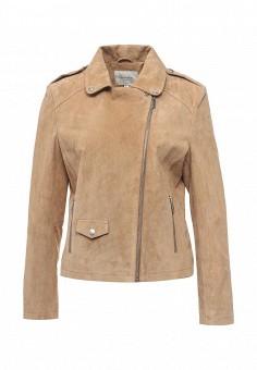 Куртка кожаная, Cortefiel, цвет: бежевый. Артикул: CO046EWRCS65. Женская одежда / Верхняя одежда / Кожаные куртки