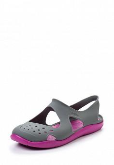 Акваобувь, Crocs, цвет: серый. Артикул: CR014AWREU76. Женская обувь / Шлепанцы и акваобувь