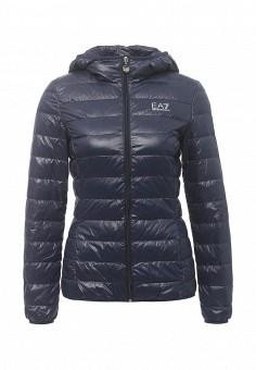 Пуховик, EA7, цвет: синий. Артикул: EA002EWRBB96. Женская одежда / Верхняя одежда / Пуховики и зимние куртки