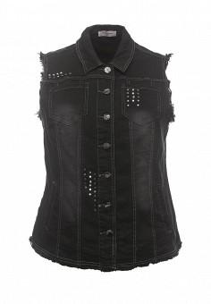 Жилет джинсовый, Fiorella Rubino, цвет: черный. Артикул: FI013EWRKV17. Женская одежда / Верхняя одежда / Жилеты