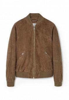Куртка кожаная, Mango Man, цвет: коричневый. Артикул: HE002EMKVZ72. Мужская одежда / Верхняя одежда / Кожаные куртки