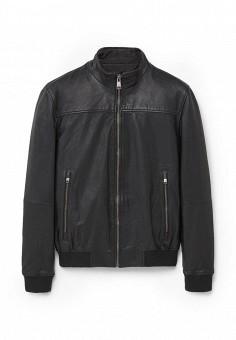 Куртка кожаная, Mango Man, цвет: черный. Артикул: HE002EMKWE28. Мужская одежда / Верхняя одежда / Кожаные куртки