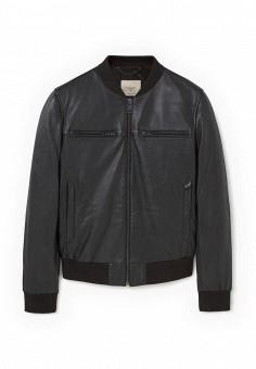 Куртка кожаная, Mango Man, цвет: черный. Артикул: HE002EMLUC31. Мужская одежда / Верхняя одежда / Кожаные куртки