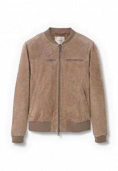Куртка кожаная, Mango Man, цвет: бежевый. Артикул: HE002EMLVE68. Мужская одежда / Верхняя одежда / Кожаные куртки