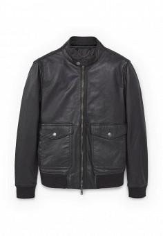 Куртка кожаная, Mango Man, цвет: черный. Артикул: HE002EMPJY58. Мужская одежда / Верхняя одежда / Кожаные куртки