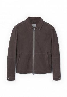 Куртка кожаная, Mango Man, цвет: коричневый. Артикул: HE002EMRAA64. Мужская одежда / Верхняя одежда / Кожаные куртки