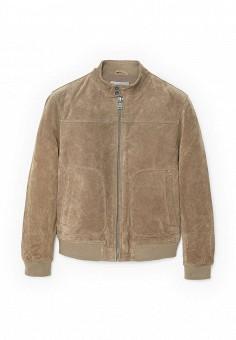 Куртка кожаная, Mango Man, цвет: бежевый. Артикул: HE002EMRSH41. Мужская одежда / Верхняя одежда / Кожаные куртки