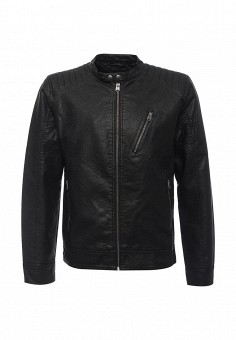 Куртка кожаная, Jack & Jones, цвет: черный. Артикул: JA391EMNEA28. Мужская одежда / Верхняя одежда