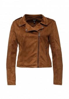 Куртка кожаная, Jennyfer, цвет: коричневый. Артикул: JE008EWHVJ25. Женская одежда / Верхняя одежда / Косухи
