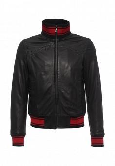 Куртка кожаная, Just Cavalli, цвет: черный. Артикул: JU662EMJDD10. Мужская одежда / Верхняя одежда / Кожаные куртки