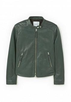 Куртка кожаная, Mango, цвет: зеленый. Артикул: MA002EWJWC46. Женская одежда / Верхняя одежда / Кожаные куртки