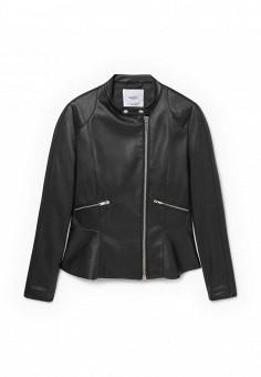 Куртка кожаная, Mango, цвет: черный. Артикул: MA002EWKWE34. Женская одежда / Верхняя одежда / Кожаные куртки