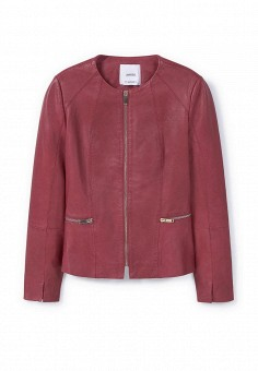Куртка кожаная, Mango, цвет: бордовый. Артикул: MA002EWLSP87. Женская одежда / Верхняя одежда / Кожаные куртки