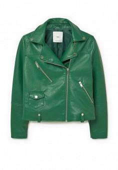 Куртка кожаная, Mango, цвет: зеленый. Артикул: MA002EWLUD25. Женская одежда / Верхняя одежда / Кожаные куртки
