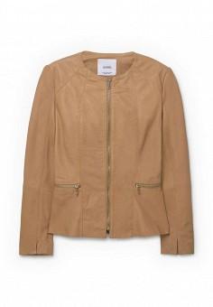 Куртка кожаная, Mango, цвет: бежевый. Артикул: MA002EWMPY32. Женская одежда / Верхняя одежда / Кожаные куртки