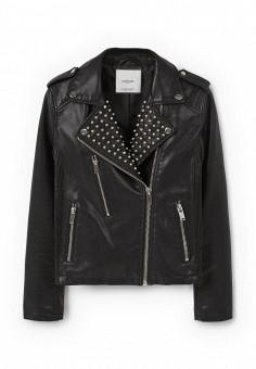 Куртка кожаная, Mango, цвет: черный. Артикул: MA002EWNPJ62. Женская одежда / Верхняя одежда / Кожаные куртки