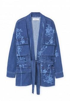 Куртка джинсовая, Mango, цвет: синий. Артикул: MA002EWPJA60. Женская одежда / Верхняя одежда / Джинсовые куртки