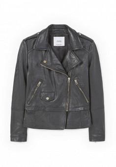 Куртка кожаная, Mango, цвет: черный. Артикул: MA002EWREA33. Женская одежда / Верхняя одежда / Кожаные куртки
