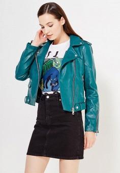 Куртка кожаная, Mango, цвет: зеленый. Артикул: MA002EWTJX91. Женская одежда / Верхняя одежда / Косухи