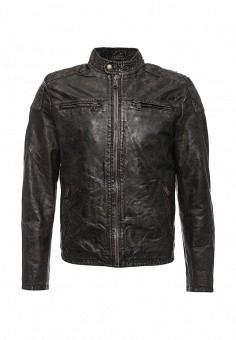 Куртка кожаная, MCS, цвет: коричневый. Артикул: MC009EMLCG22. Мужская одежда / Верхняя одежда / Кожаные куртки
