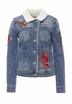 Куртка джинсовая, Miss Bon Bon, цвет: голубой. Артикул: MI045EWPWZ18. Женская одежда / Верхняя одежда / Джинсовые куртки