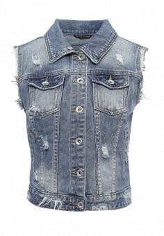 Жилет джинсовый, Miss Bon Bon, цвет: синий. Артикул: MI045EWRKM12. Женская одежда / Верхняя одежда / Жилеты