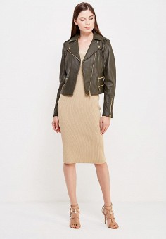 Куртка кожаная, Michael Michael Kors, цвет: хаки. Артикул: MI048EWUUY28. Женская одежда / Верхняя одежда / Косухи