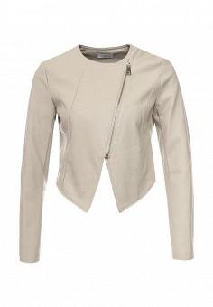 Куртка кожаная, Motivi, цвет: бежевый. Артикул: MO042EWRCG94. Женская одежда / Верхняя одежда / Косухи