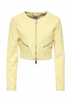 Куртка кожаная, Motivi, цвет: желтый. Артикул: MO042EWRLC37. Женская одежда / Верхняя одежда / Кожаные куртки