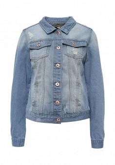 Куртка джинсовая, Modis, цвет: голубой. Артикул: MO044EWSWQ33. Женская одежда / Тренды сезона / Летний деним / Джинсовые куртки