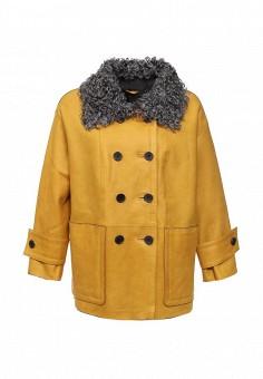 Дубленка, Mondial, цвет: желтый. Артикул: MP002XW1GIZX. Женская одежда / Верхняя одежда / Шубы и дубленки