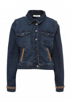 Куртка джинсовая, Naf Naf, цвет: синий. Артикул: NA018EWPTB43. Женская одежда / Верхняя одежда / Джинсовые куртки