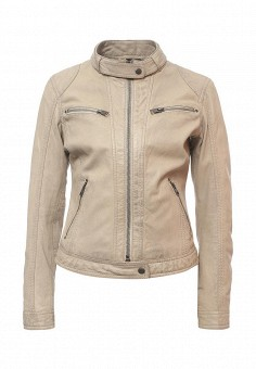 Куртка кожаная, Oakwood, цвет: бежевый. Артикул: OA002EWPPL43. Женская одежда / Верхняя одежда / Кожаные куртки