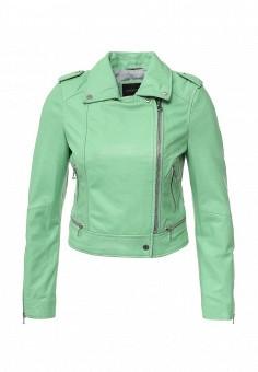 Куртка кожаная, Oakwood, цвет: зеленый. Артикул: OA002EWPPL50. Женская одежда / Верхняя одежда / Кожаные куртки