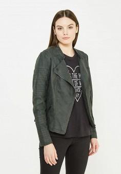 Куртка кожаная, Only, цвет: зеленый. Артикул: ON380EWUVN72. Женская одежда / Верхняя одежда / Косухи