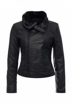 Куртка кожаная, oodji, цвет: черный. Артикул: OO001EWMNY69. Женская одежда / Верхняя одежда / Кожаные куртки