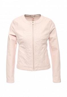 Куртка кожаная, oodji, цвет: розовый. Артикул: OO001EWPOY34. Женская одежда / Верхняя одежда / Кожаные куртки