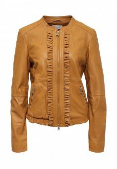Куртка кожаная, Patrizia Pepe, цвет: коричневый. Артикул: PA748EWPAF28. Женская одежда / Верхняя одежда / Кожаные куртки