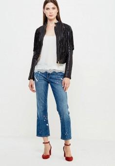 Куртка кожаная, Patrizia Pepe, цвет: черный. Артикул: PA748EWTUR34. Женская одежда / Верхняя одежда / Кожаные куртки