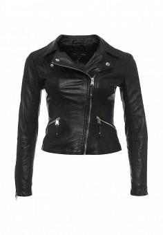 Куртка кожаная, River Island, цвет: черный. Артикул: RI004EWRRH65. Женская одежда / Верхняя одежда / Косухи