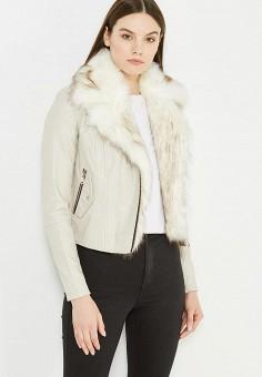 Куртка кожаная, River Island, цвет: серый. Артикул: RI004EWUWD52. Женская одежда / Верхняя одежда / Косухи